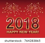 2018 happy new year. gold... | Shutterstock .eps vector #764283865