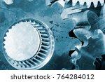 large steel gears  cogs used in ...   Shutterstock . vector #764284012