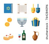 set of icons for the hanukkah... | Shutterstock .eps vector #764284096