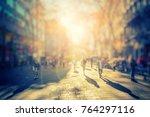 silhouette of people walking on ... | Shutterstock . vector #764297116