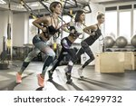 attractive girls are training... | Shutterstock . vector #764299732