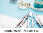 orthodontic model and dentist... | Shutterstock . vector #764301142
