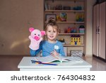 funny girl pig puppet theatre | Shutterstock . vector #764304832