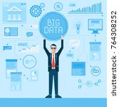 businessman and big data... | Shutterstock .eps vector #764308252