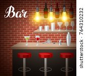 bar counter in pub or night... | Shutterstock .eps vector #764310232