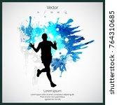 silhouette of marathon runner | Shutterstock .eps vector #764310685