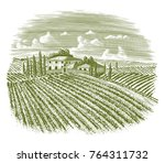 woodcut illustration of an old... | Shutterstock .eps vector #764311732