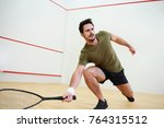man during squash match on... | Shutterstock . vector #764315512