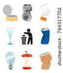 garbage and waste elements...   Shutterstock .eps vector #764317702