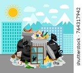 garbage dump or landfill on a...   Shutterstock .eps vector #764317942
