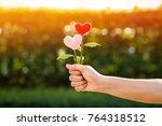 woman hand holding a flower of... | Shutterstock . vector #764318512