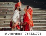 indian groom dressed in white... | Shutterstock . vector #764321776