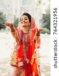 stunning indian bride dressed... | Shutterstock . vector #764321956