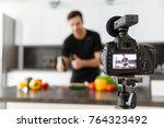 close up of a video camera... | Shutterstock . vector #764323492