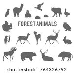 black silhouettes of forest... | Shutterstock . vector #764326792