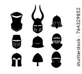 set of black icons of knightly... | Shutterstock .eps vector #764329852