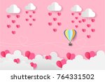 origami balloon on the sky and... | Shutterstock .eps vector #764331502
