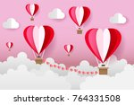 origami heart balloons on the... | Shutterstock .eps vector #764331508