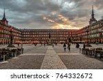 view of famous plaza mayor in... | Shutterstock . vector #764332672