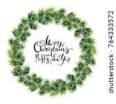 bright green christmas fir... | Shutterstock . vector #764333572