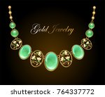 a gold necklace with an oval... | Shutterstock .eps vector #764337772