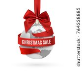 christmas sale  earth icon with ... | Shutterstock .eps vector #764338885
