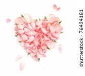 Stock photo heart from the most gentle rose petals 76434181