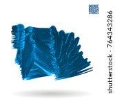 blue  brush stroke and texture. ... | Shutterstock .eps vector #764343286