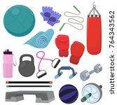 set of fitness accessories ... | Shutterstock .eps vector #764343562