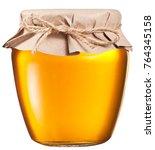 jar full of fresh honey. file... | Shutterstock . vector #764345158