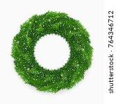 realistic christmas wreath... | Shutterstock .eps vector #764346712