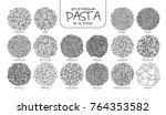 set of isolated popular pasta...   Shutterstock .eps vector #764353582