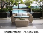 modern roof top with sofa and... | Shutterstock . vector #764359186