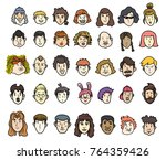 head of people avatar male and... | Shutterstock .eps vector #764359426