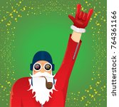 vector dj rock n roll santa... | Shutterstock .eps vector #764361166