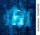hacked firewall concept. broken ... | Shutterstock .eps vector #764365456