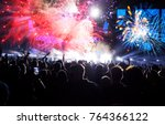 colorful fireworks and crowd... | Shutterstock . vector #764366122