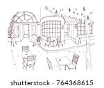 monochrome rough sketch of... | Shutterstock .eps vector #764368615