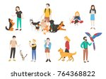 collection of people with pets... | Shutterstock .eps vector #764368822