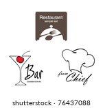 label set for restaurant  cafe... | Shutterstock .eps vector #76437088