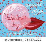 valentines day big super sale...   Shutterstock .eps vector #764371222