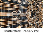 3d rendering. golden circuit... | Shutterstock . vector #764377192