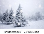 snow covered fir trees in heavy ... | Shutterstock . vector #764380555