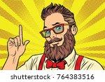 bearded hipster man portrait...   Shutterstock . vector #764383516
