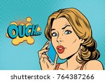 ouch woman speaks on the... | Shutterstock . vector #764387266