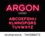 glowing neon typeface design.... | Shutterstock .eps vector #764388472