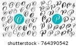 set letter o  p. hand drawn... | Shutterstock .eps vector #764390542