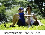 two young happy  boy or teenage ... | Shutterstock . vector #764391706