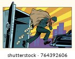 thief escapes from a bank  bag... | Shutterstock . vector #764392606