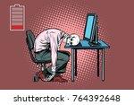 dead businessman skeleton at... | Shutterstock . vector #764392648